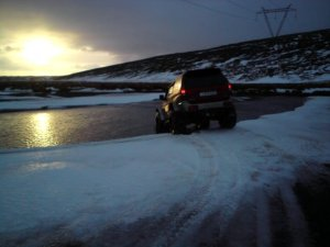 Crossing over glacier river